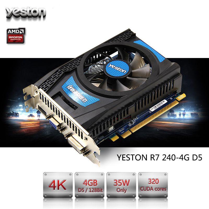 Yeston Radeon R7 200 Série R7 240 GPU 4 GB GDDR5 128bit Jeux PC de Bureau Vidéo Cartes Graphiques soutien VGA/DVI/HDMI