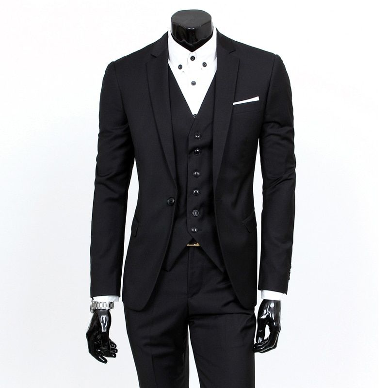 Formal Suit 3-piece Sets Mens Consisting of Jacket, Vest and Pants. Elegant, Available In A Variety of Plain Colors S 3XL
