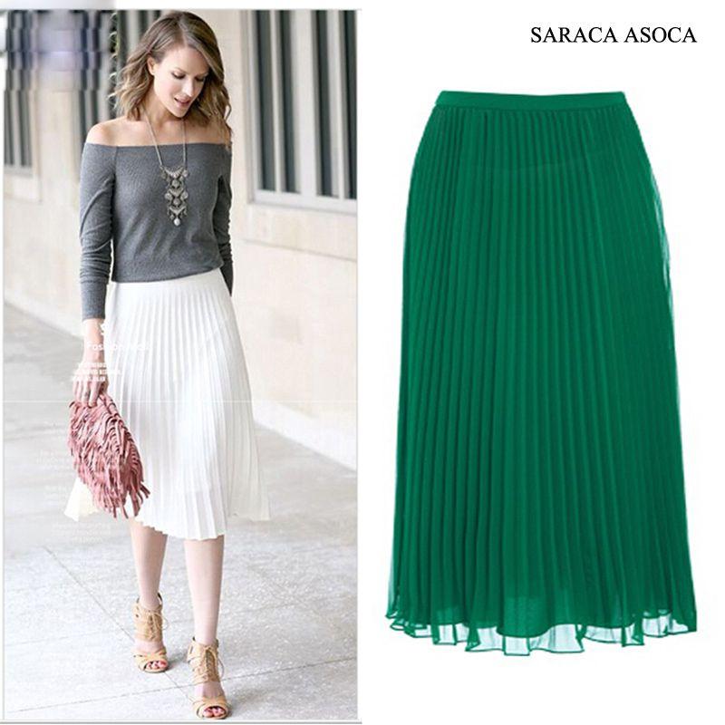 En gros 22 couleur all-match Super plissé jupe en mousseline de soie femmes musulmanes bande élastique mode cheville longueur Long buste jupes