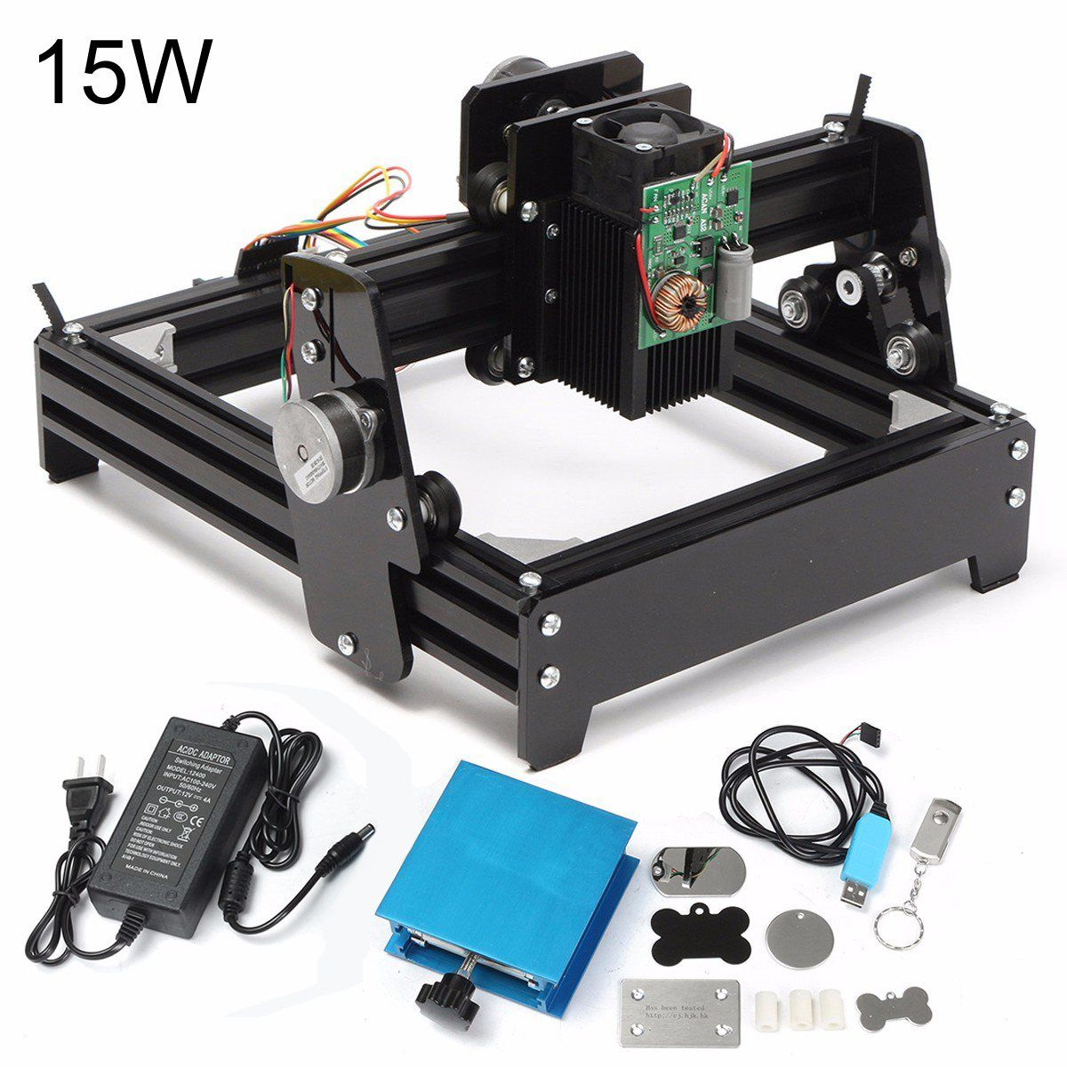 15W Laser AS-5 USB Desktop 15000mW CNC Laser Engraver DIY Marking Machine For Metal Stone Wood Engraving Area 14 x 20cm
