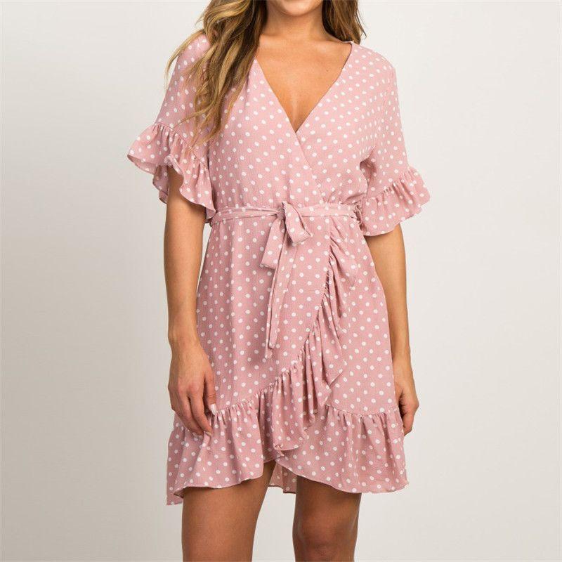 Été mousseline de soie robe 2019 Boho Style plage robe de mode à manches courtes col en v à pois une ligne robe de soirée robe d'été robes