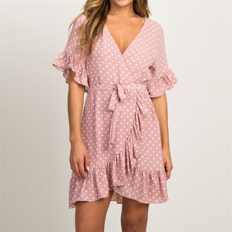 Summer Chiffon Dress 2019 Boho Style Beach Dress Fashion Short Sleeve V-neck Polka Dot A-line Party Dress Sundress Vestidos