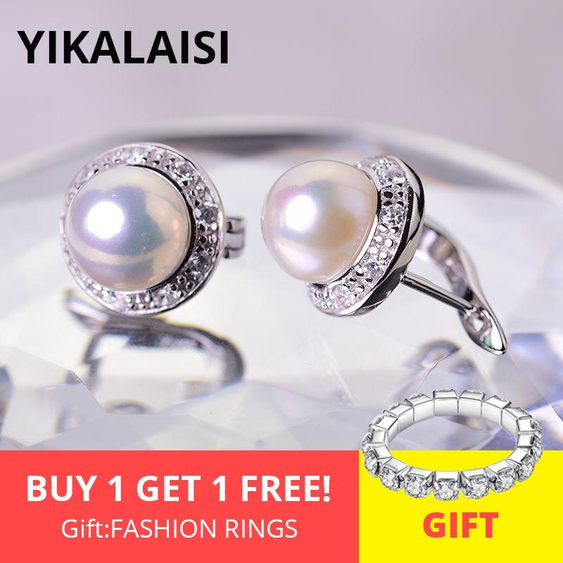 YIKALAISI 925 bijoux en argent Sterling boucles d'oreilles perle 2019 bijoux de perles naturelles fines 8-9mm boucles d'oreilles pour les femmes en gros