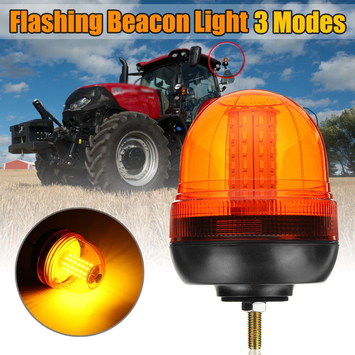 12-24V 60LED Flashing Yellow Beacon Warning Lamp Rotating Work Emergency Strobe Signal Light for Car Truck