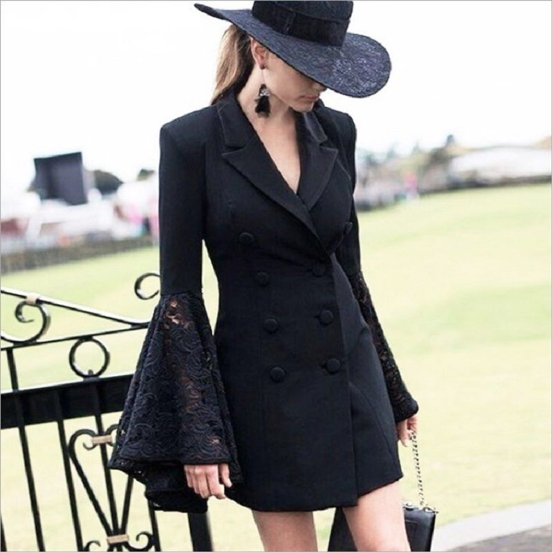 ZJYT 2018 Lace <font><b>Bell</b></font> Flare Sleeve Blazer Women Hollow Out V Neck Double Breadsted Suit Collar Tunic Plus Size Coat Female Autumn