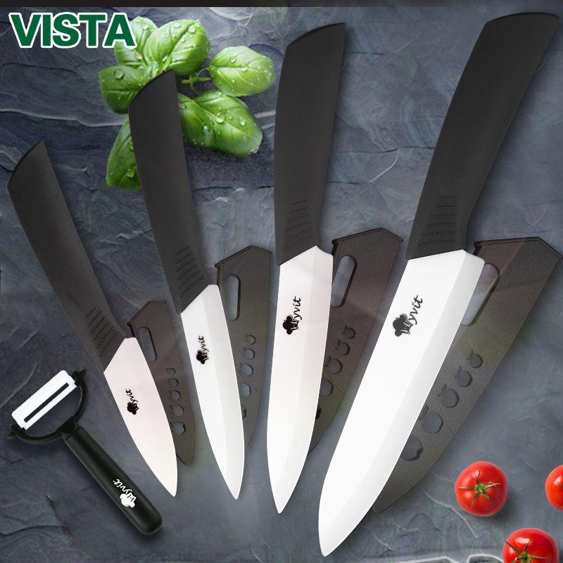 Couteaux en céramique couteaux de cuisine 3 4 5 6 pouces ensemble de couteaux de cuisine + éplucheur lame en zircone blanche poignée multicolore de haute qualité