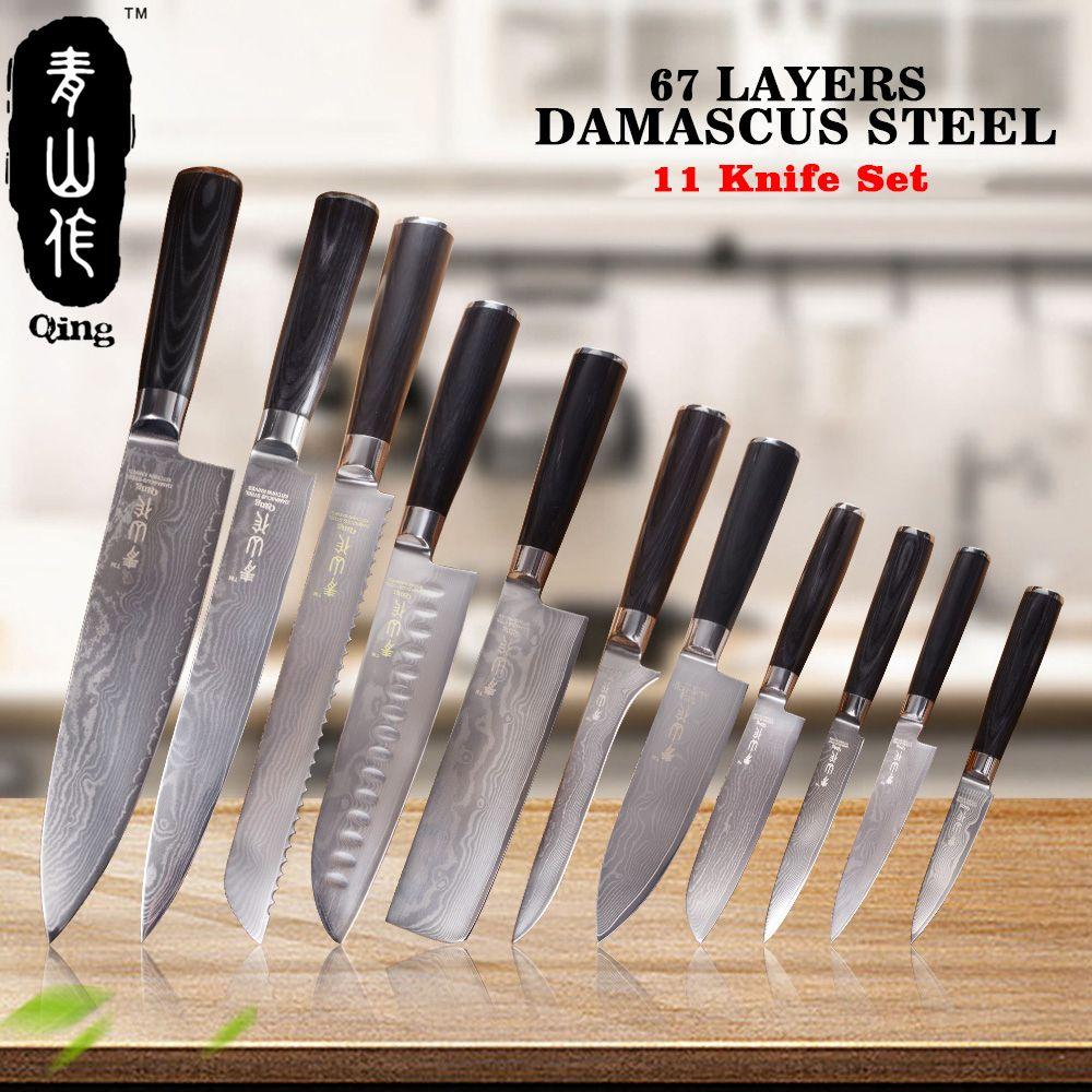 QING 11 stücke VG10 Damaskus Messer Top Grade Japanischen Damaskus Stahl Kochen Werkzeuge Hohe Zähigkeit Küche Messer Farbe Holz Griff