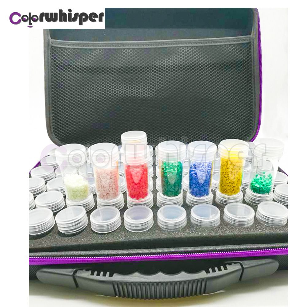 60Bottles Diamond Painting Box Container Storage Full Square Carry Case Holder Storage Hand Bag Zipper Design Shockproof Durable