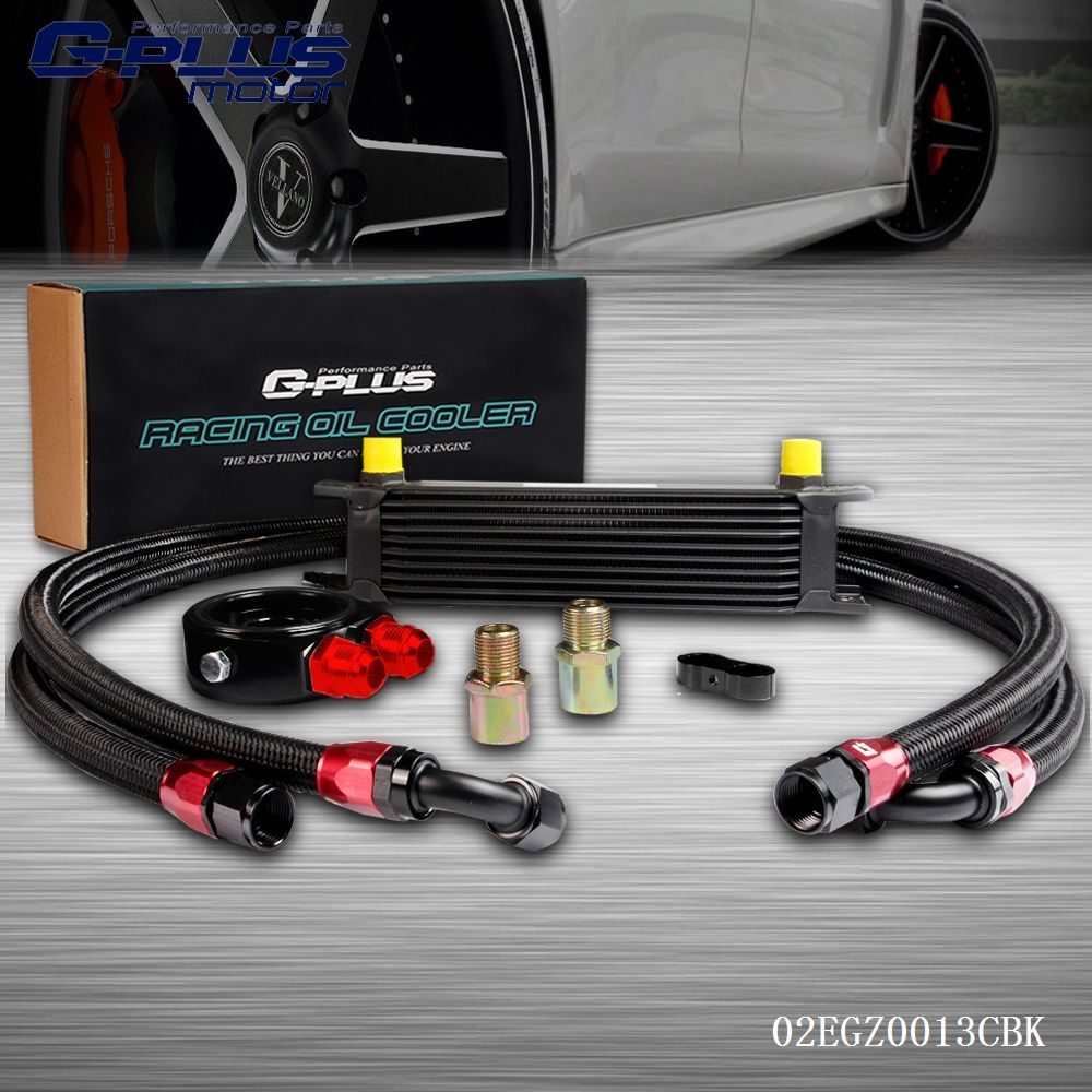 10 Row AN10 Universal Engina Transmission Oil Cooler + Filter Adapter Kit