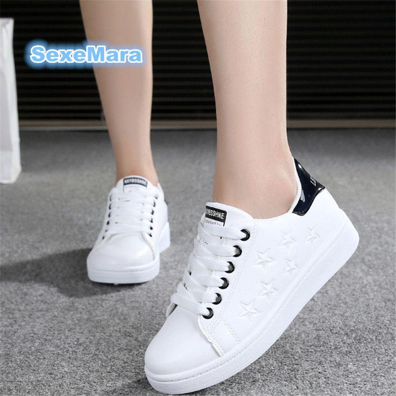 2017 Femmes Chaussures vente chaude En Cuir Casual chaussures En Plein Air chaussures Plates Étoiles Blanc chaussures Force zapatillas mujer casual tenis feminino