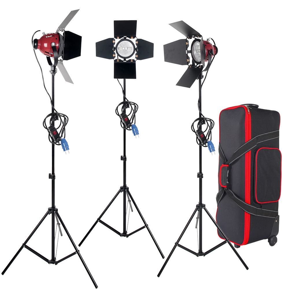 ASHANKS 3KITS 800W Spotlight with Dimmer Switch & Studio Video Red head Light kits  +  Bulb + Carry bag For Video Fotografica