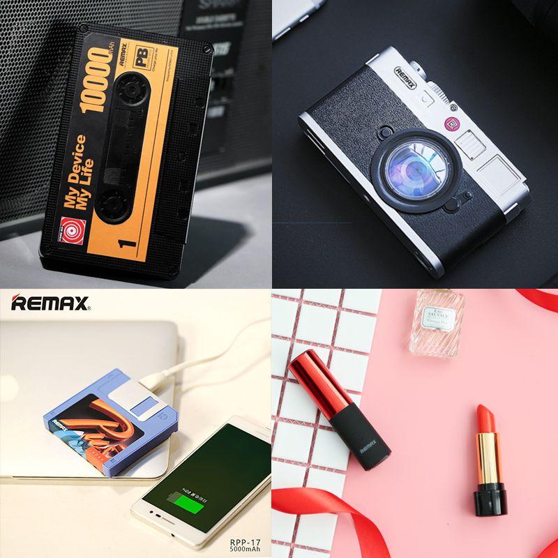 Remax Portable rouge à lèvres Mini 10000 mah batterie externe 10000 mah Powerbank 2400 mah bande caméra 2A sauvegarde externe USB chargeur de batterie