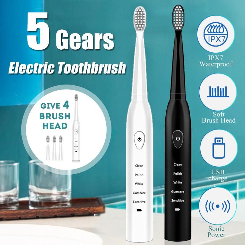 Electric Toothbrush Sonic USB Rechargeable Tooth Brush Washable Smart Chip Toothbrush Head Replace Teeth Whitening Tooth brush