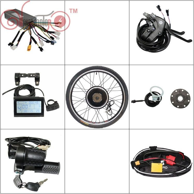 LOWEST PRICE! 36V 48V 1000W Electric Bicycle Conversion Kits Front Rear Motor Wheel 14