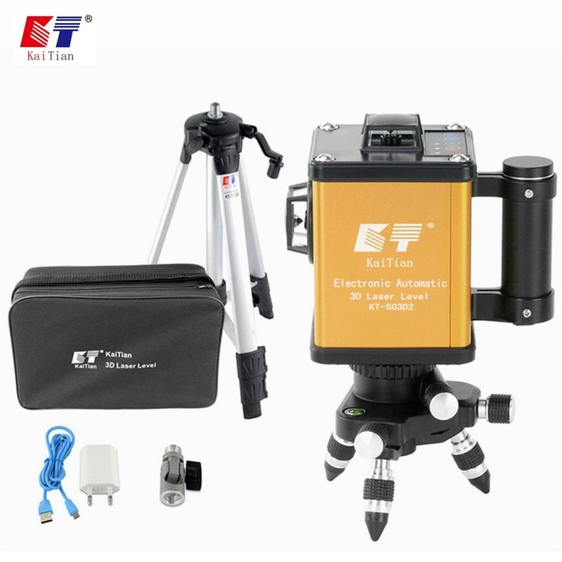 KaiTian Laser Level Tripod 3D Green 12 Lines Self-Leveling 360 Horizontal 520nm Vertical Cross Livello Laser x Beam Line Levels