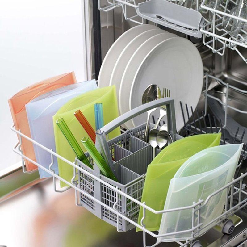 TEENRA 4 pièces Silicone alimentaire sac frais emballage alimentaire réutilisable sous vide scellant sac de cuisson récipient alimentaire pour réfrigérateur