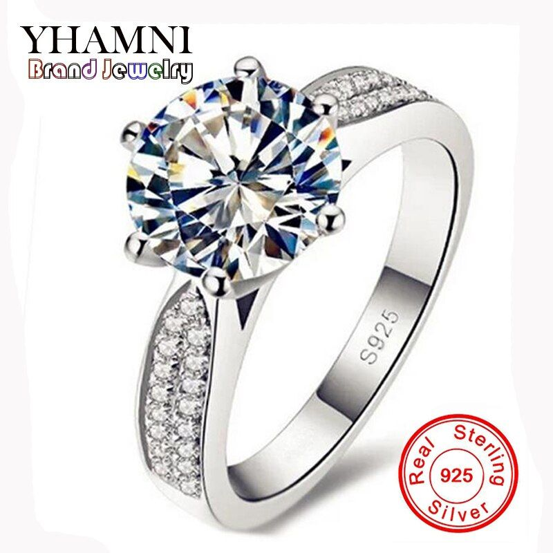 Lose Money Promotion 100% 925 Sterling Silver Rings Jewelry Luxury 8mm 2 Carat CZ Diamant Zircon Wedding Rings For Women YH012