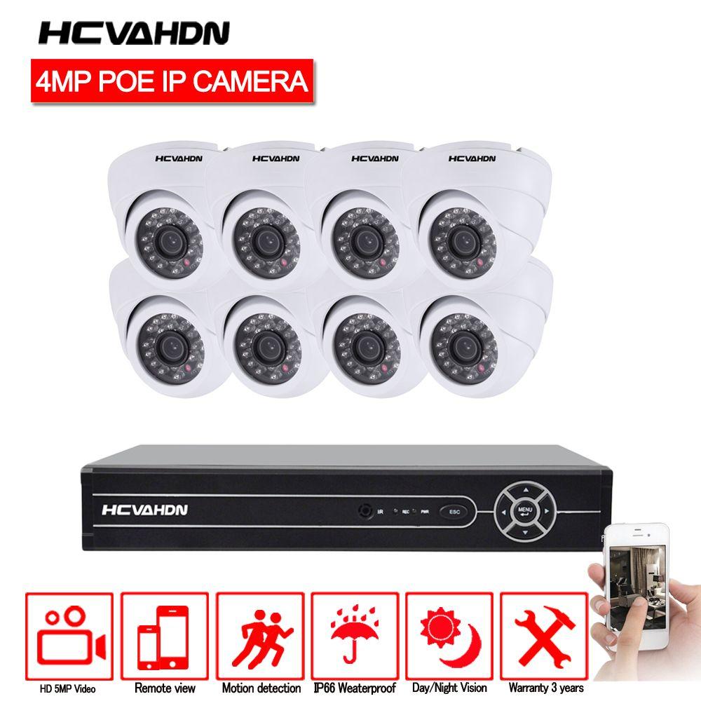HCVAHDN 8CH Netzwerk PoE Video Überwachung System 8 stücke 4.0MP Outdoor Indoor Weiß Dome IP Kameras CCTV Sicherheit 5MP NVR kit