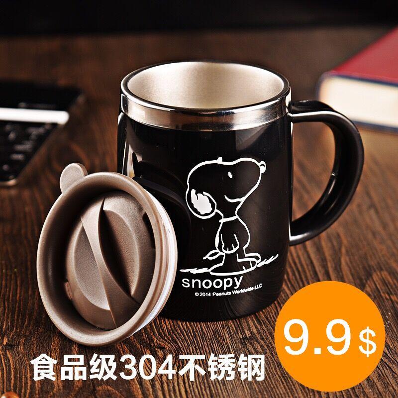 Снупи 420 мл Кофе чашка напиток Колба стакан воды офиса с крышкой черный Нержавеющая сталь воды mu