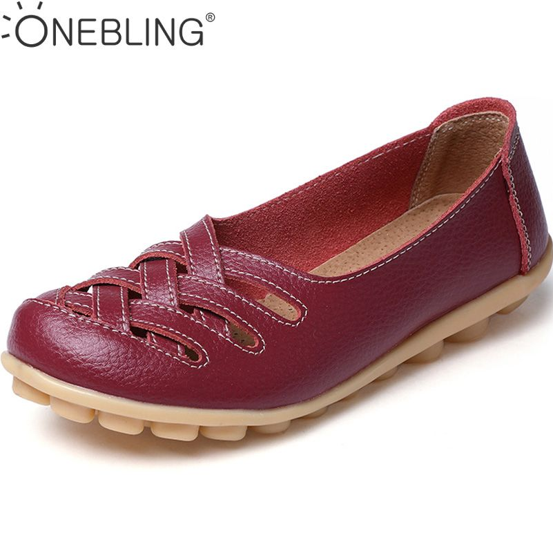 Discounts 2017 Fashion Genuine Leather Casual Loafers Shoes Women Sandals Summer Shoes Flats with Hollow Out Size 34-44
