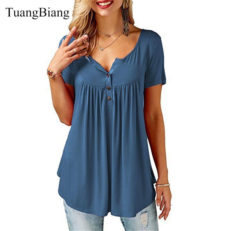TuangBiang 2019 femmes été col en v à manches courtes t-shirts lâche Sexy camiseta feminina t-shirts femme grande taille Long Style hauts