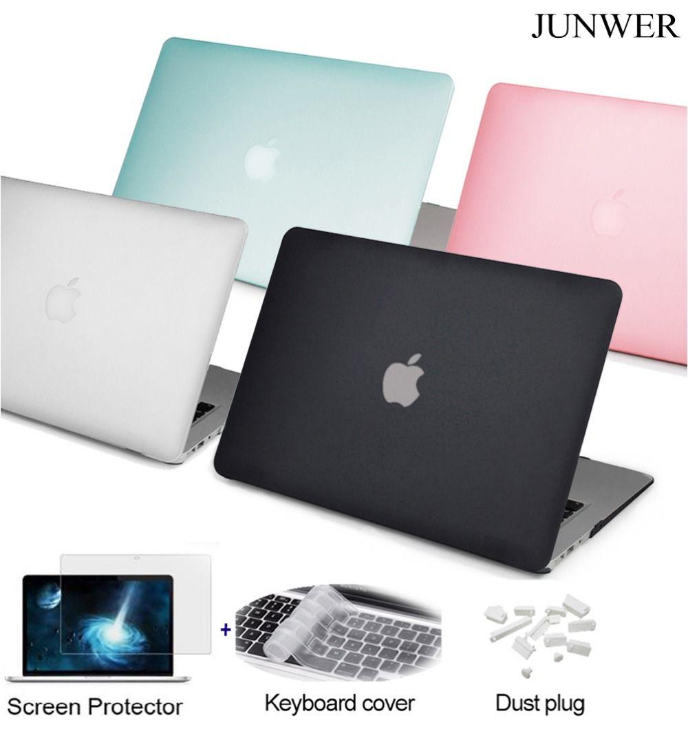 JUNWER Matte étui pour macbook Air Pro Retina 11 12 13.3 15.4 pouces pochette d'ordinateur pour Mac book 13 avec barre tactile + housse de clavier