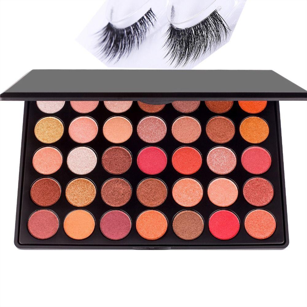DE'LANCI 35 Colors Shimmer Matte Eye shadow Professional Makeup Eyeshadow Palette With Mink False Eyelashes Gift for Women