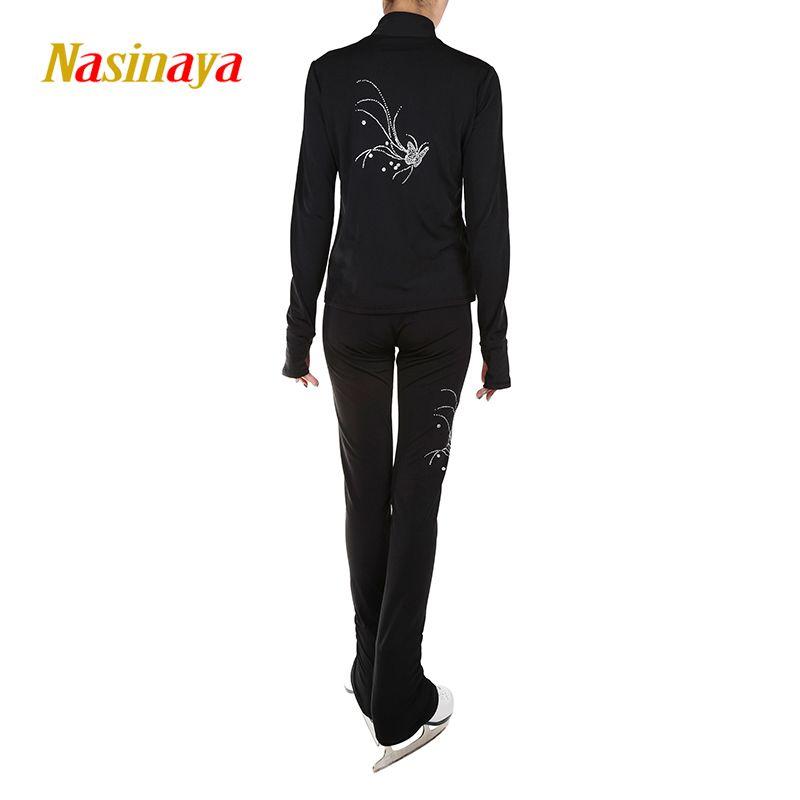 Kundenspezifische Figur Skating Anzüge Jacke und Hosen Lange Hosen für Mädchen Frauen Ausbildung Patinaje Ice Skating Warme Gymnastik 7