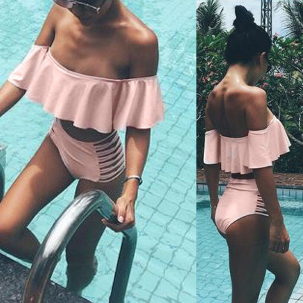2018 Off Shoulder Bikini Set Bandage Beachwear Solid Bikinis Women Swimsuit Bathing suit Push Up Brazilian Swimwear biquini