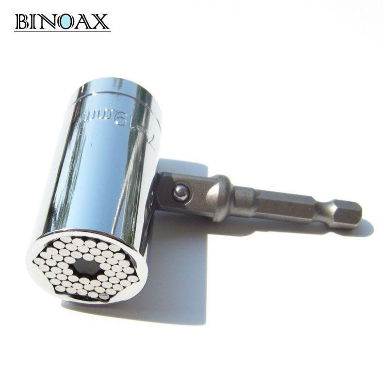Binoax 2 teile/satz Magie Spanner Grip Multi Funktion Universal Ratchet Sockel 7-19mm Bohrmaschine Adapter Auto Hand werkzeuge Reparatur Kit