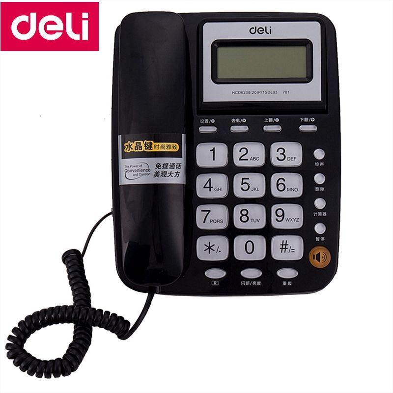 Deli 781 sitztyp telefonapparat schnurgebundene telefon bildschirm drehbare rufnummernanzeige und speicher office home
