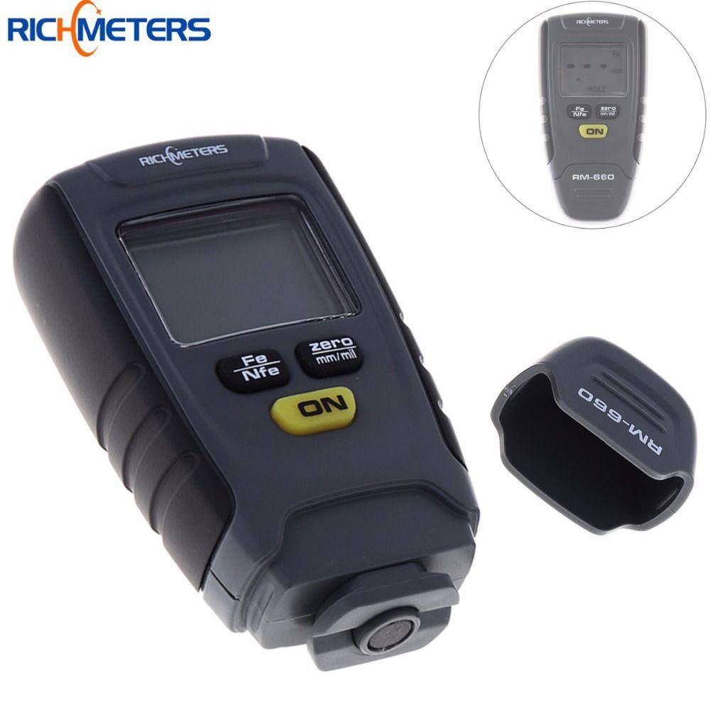 RM660 Digital Paint Coating Thickness Gauge LCD Feeler Gauge Tester Fe /NFe 0-1.25mm for Car Instrument Iron Aluminum Base Metal