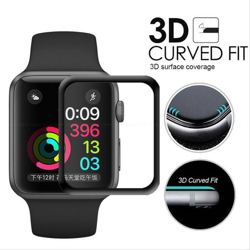 50pcs 3D Curved Full Coverage Tempered Glass Protective Film iwatch Apple Watch Series 1/2/3 38mm 42mm Screen Protector Cover