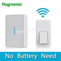 AuGreener No Battery Need Waterproof Doorbell 36 Melody Home Remote LED Wireless Door Bell 1 Doorbells Push Button+2 Receivers