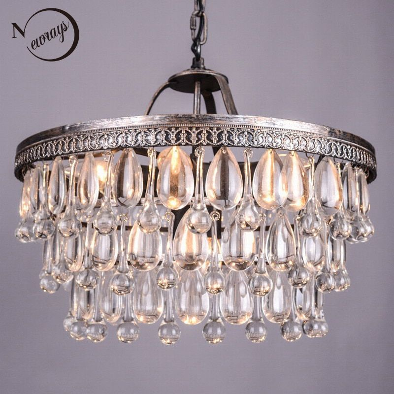 Vintage Big Glass Drops Led Crystal Iron Lustres Chandeliers Pendants Modern E14 Hanging Lamp For Kitchen Living Room Bedroom