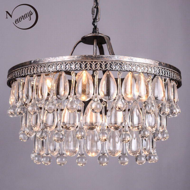 Vintage Große Glas Tropfen Führte Kristall Eisen Lüster Kronleuchter Anhänger Moderne E14 Hängen Lampe Für Küche Wohnzimmer Schlafzimmer