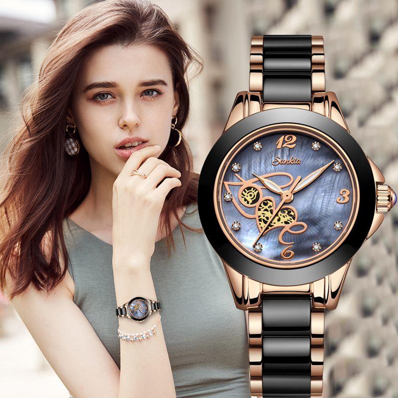 SUNKTA Top Qualität Damen Strass Uhr Luxus Rose Gold Schwarz Keramik Wasserdichte Uhren Frau Klassische Serie Damen Uhr