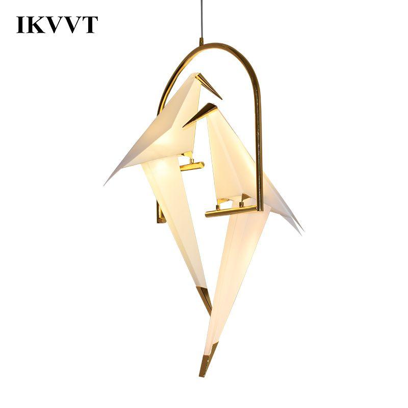 IKVVT Modern Paper Crane Metal Chandelier For Restaurant Living Room Dining Room Children's Room LED Bird Design Pendant Lamp
