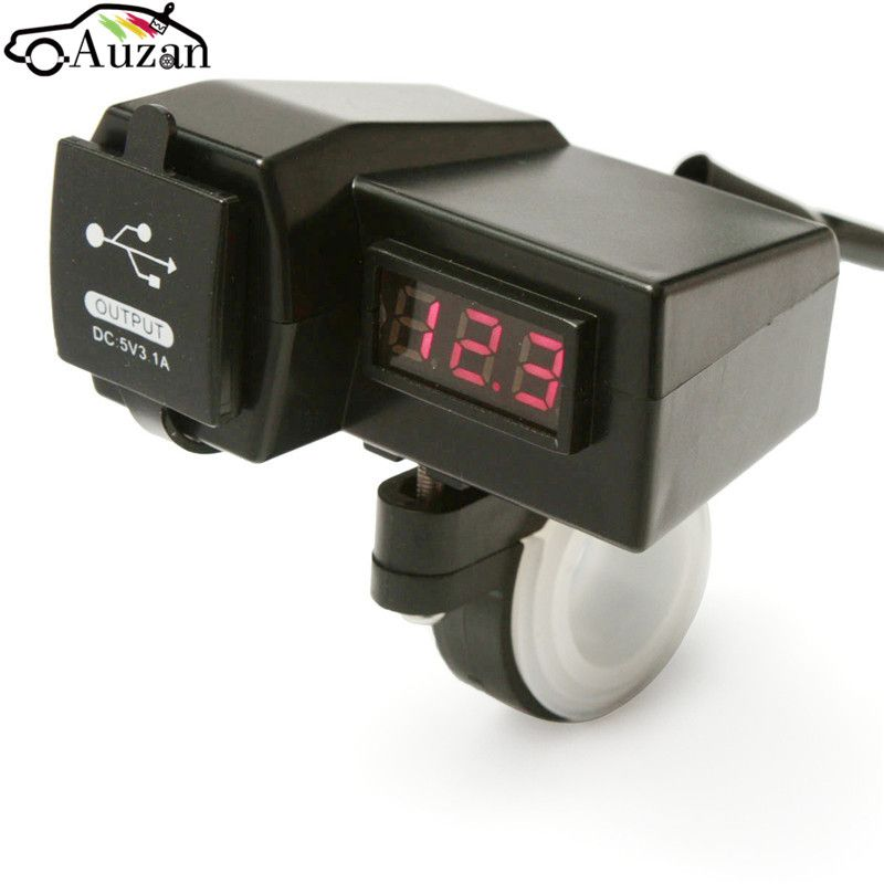 12V Motorcycle ATV GPS Scooter with LED Digital Display Voltmeter Voltage Dual USB Power Socket Charger Power Switch
