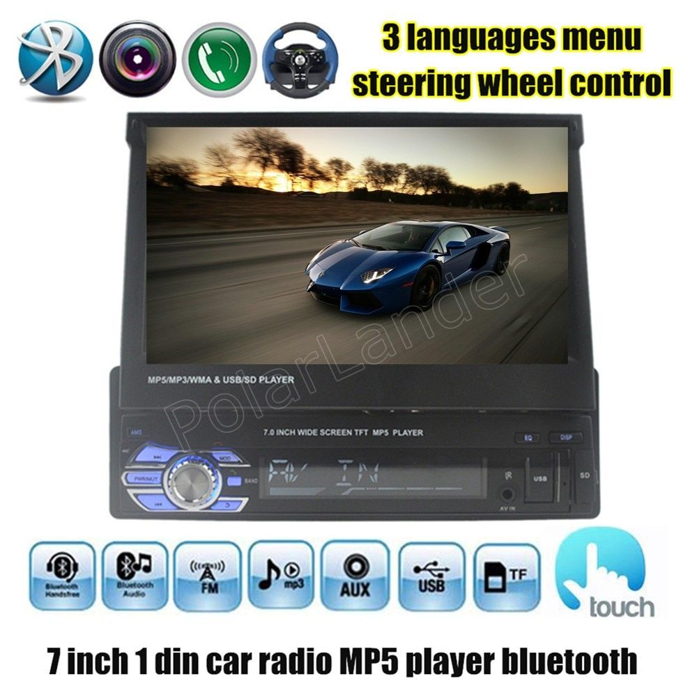 Car Radio MP4 MP5 Player FM Stereo USB TF 1 Din 7 inch video steering wheel control touch screen bluetooth audio stereo new