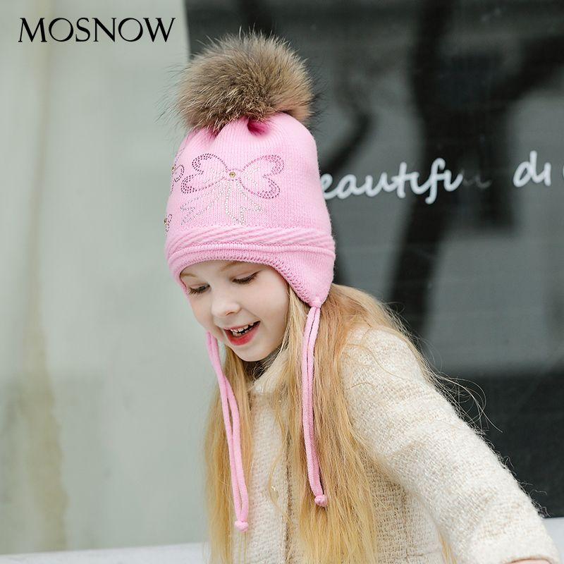 MOSNOW Hats For Girl Boy Caps Children Fur Pompom Bowknot High Quality Lovely 2017 Knitted Winter Beanies Skullies Bonnet #MZ850