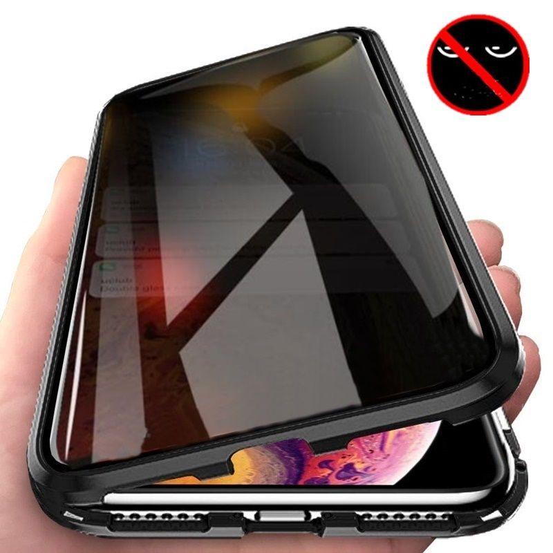 Tongdaytech magnétique verre trempé intimité métal Coque de téléphone Coque 360 aimant antiespion housse de protection pour Iphone XR XS X 11Pro MAX 8 7 6 Plus
