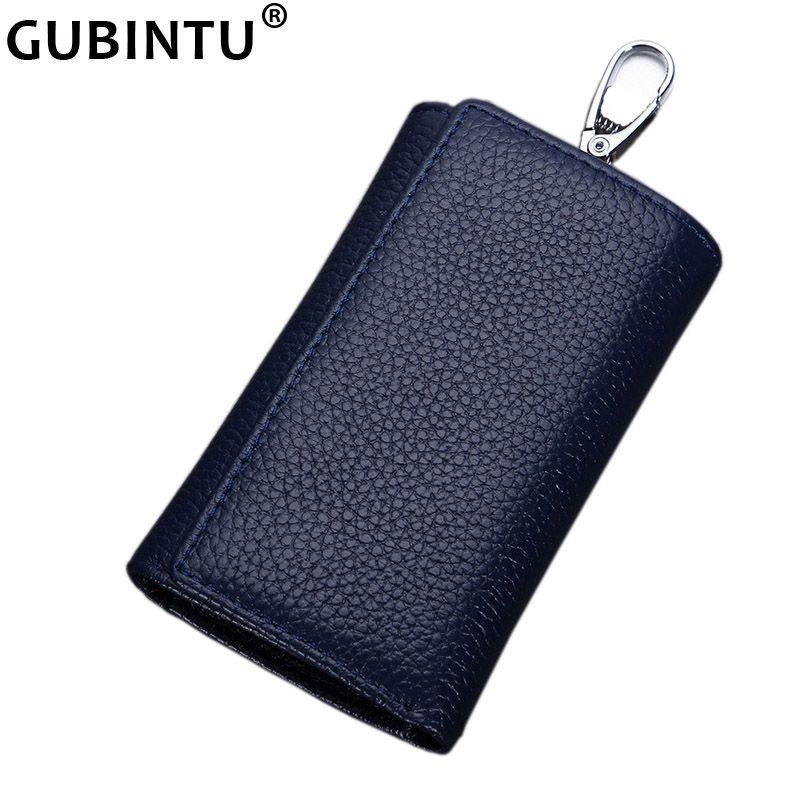 GUBINTU multifonctionnel en cuir véritable hommes clé sac portefeuille porte-clés trois fois sac hommes clé titulaire gouvernante clés organisateur
