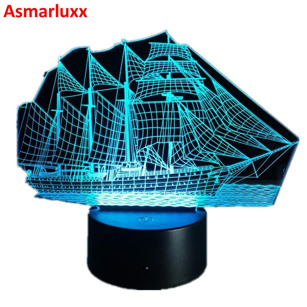 Sailing Boat Ship 3D Light 7Colors Change Illusion Lamp for Home Cafe Decoration Night Light USB LED Table Desk Lamparas AW-019