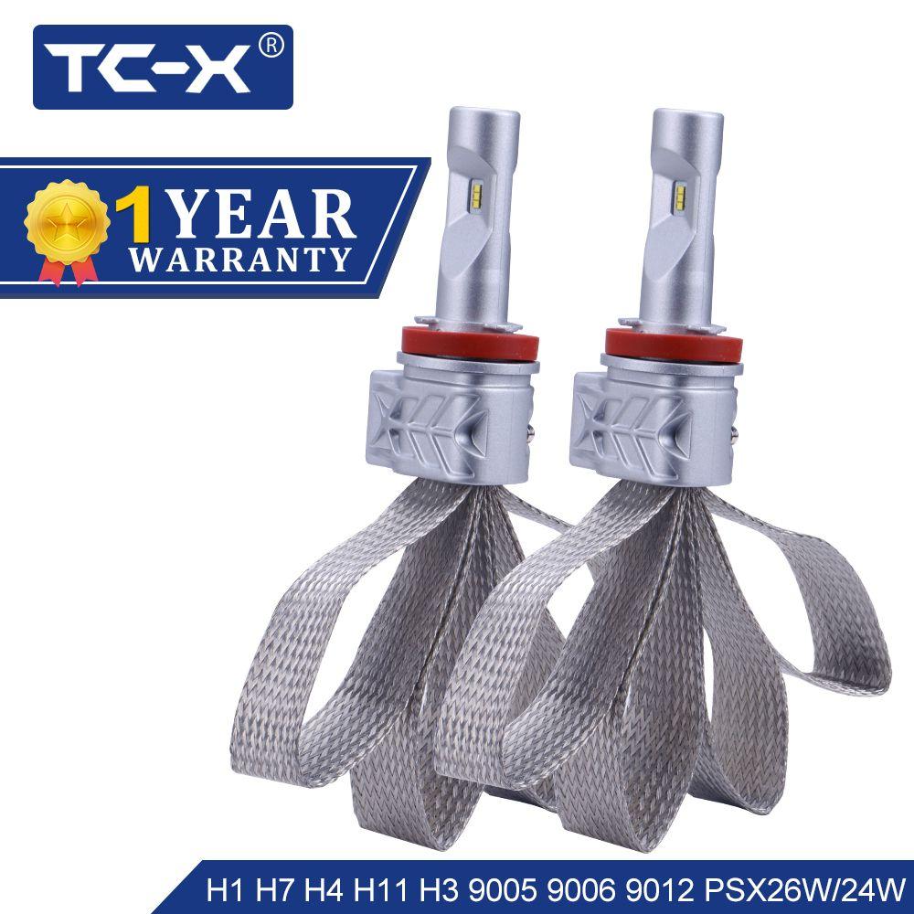 TC-X Super Bright H4 High/Low Border 4800Lumen Luxeon ZES H7 LED H11 9006/HB4 9005/HB3 PSX24W PSX26W LED Car Headlight Foglight