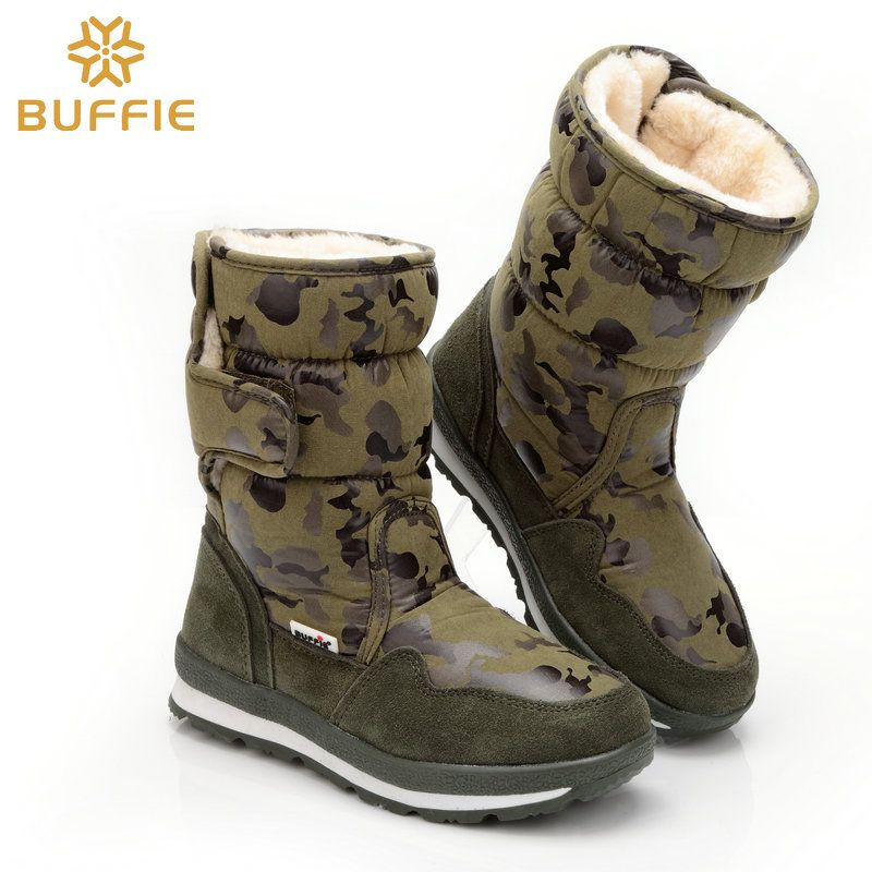 Boys shoes boot army camouflage winter boots full size snow boots from 27 to 41 antiskid children warm boot fur lining free ship
