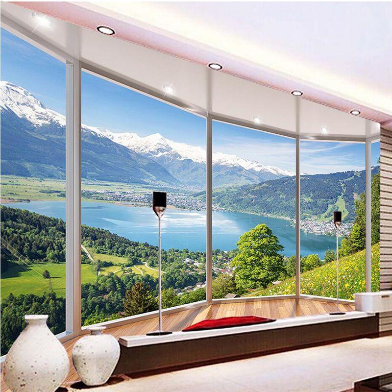 Пользовательские 3D фреска обои современный творческий балкон французское окно природа пейзаж фото Обои Гостиная Спальня Домашний Декор
