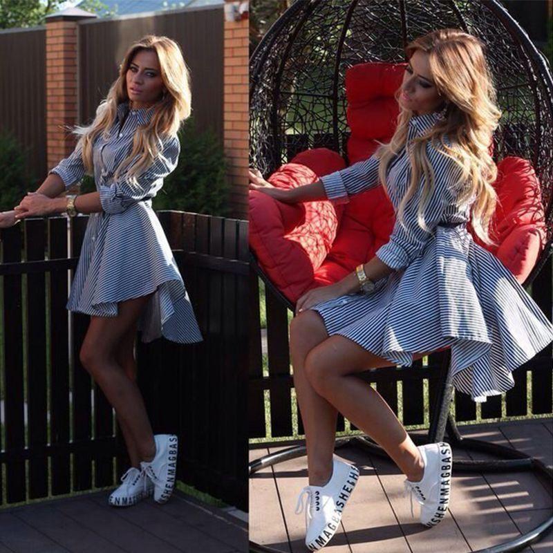 DICLOUD 2017 Spring Autumn Women Turn-down Collar Full Sleeves Dress Casual Striped Button Belt Dresses Mini Vestidos S-XL