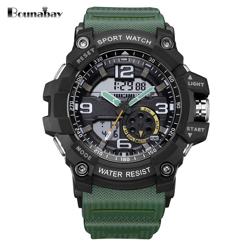 Bounabay человека автоматические водонепроницаемые наручные часы Для мужчин армии военные часы наивысшего качества Для мужчин знаменитого ...