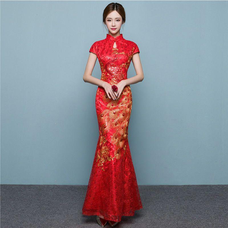 Red Phoenix Fish Tail Luxury Cheongsam Traditional Chinese Woman Dress Qipao Robe Oriental Evening Dress Vintage Qi Pao QL